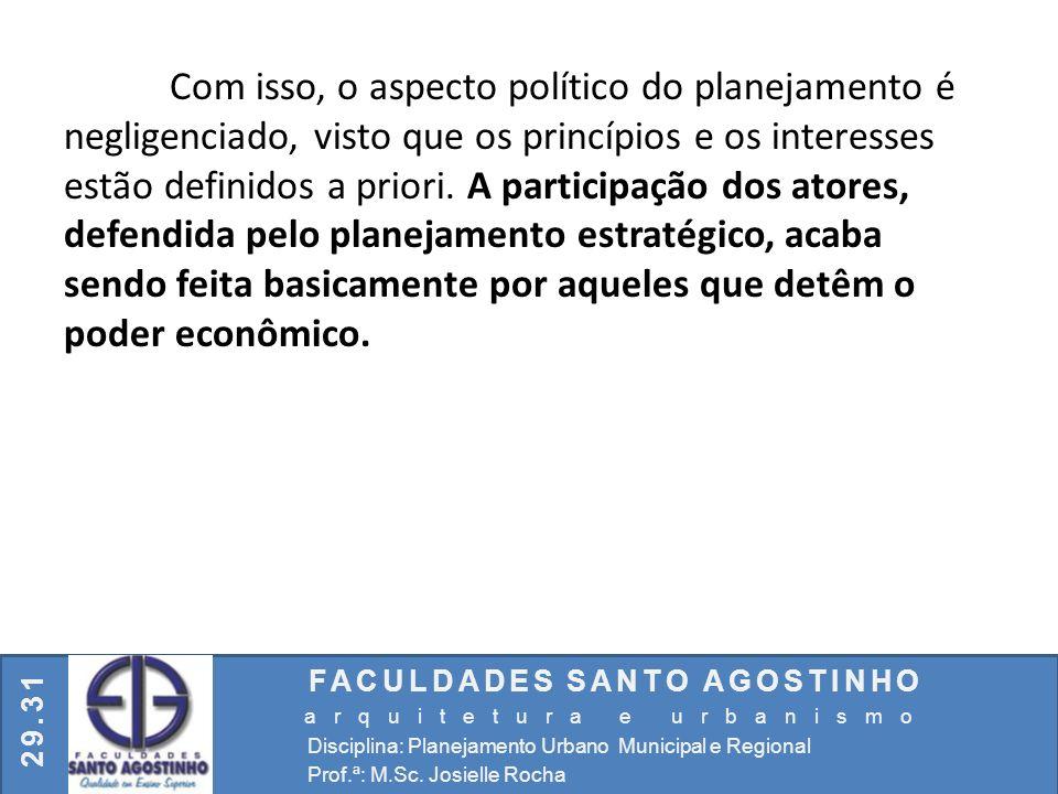 FACULDADES SANTO AGOSTINHO arquitetura e urbanismo Disciplina: Planejamento Urbano Municipal e Regional Prof.ª: M.Sc. Josielle Rocha 29.31 Com isso, o
