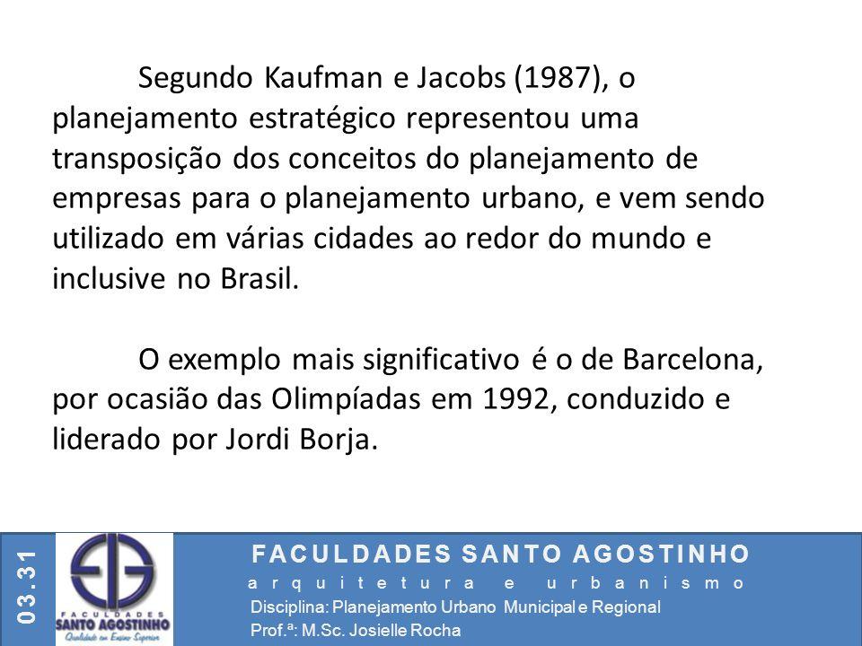 FACULDADES SANTO AGOSTINHO arquitetura e urbanismo Disciplina: Planejamento Urbano Municipal e Regional Prof.ª: M.Sc. Josielle Rocha 03.31 Segundo Kau