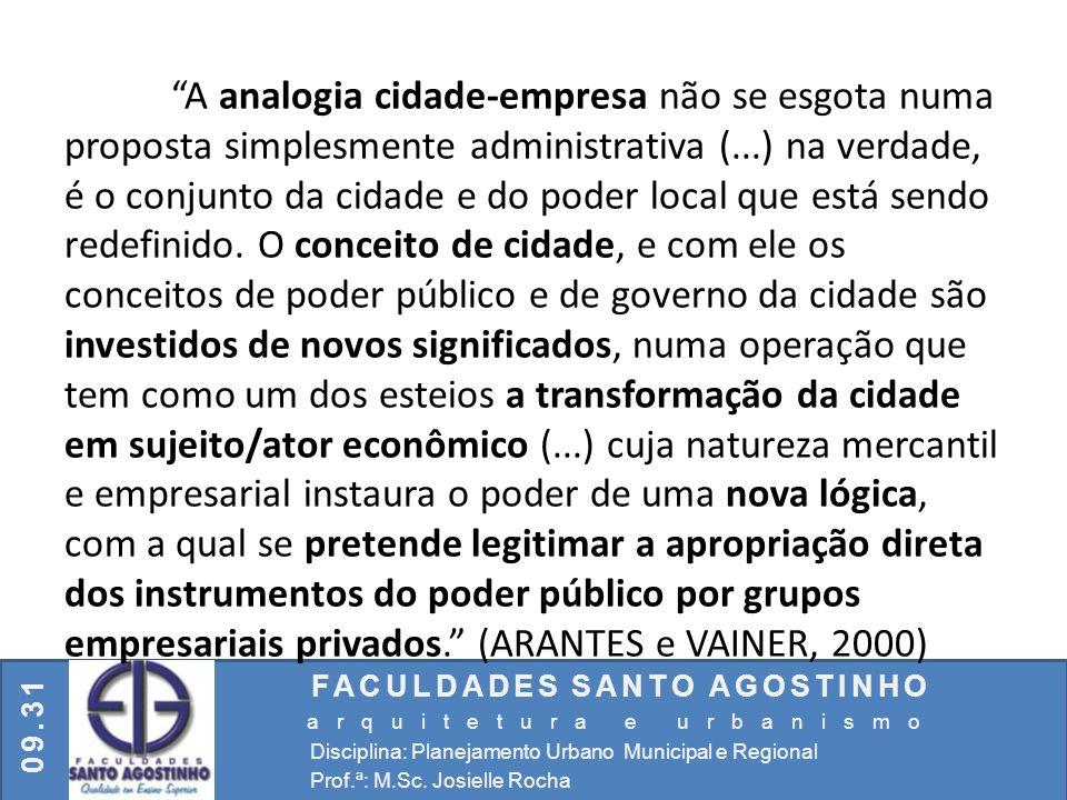 FACULDADES SANTO AGOSTINHO arquitetura e urbanismo Disciplina: Planejamento Urbano Municipal e Regional Prof.ª: M.Sc. Josielle Rocha 09.31 A analogia