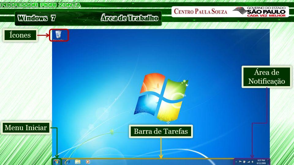 Ícones Barra de Tarefas Menu Iniciar Área de Notificação