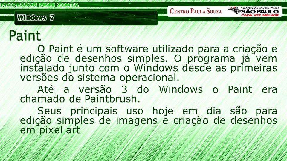 O Paint é um software utilizado para a criação e edição de desenhos simples. O programa já vem instalado junto com o Windows desde as primeiras versõe