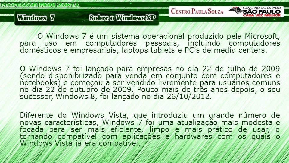 O Windows 7 é um sistema operacional produzido pela Microsoft, para uso em computadores pessoais, incluindo computadores domésticos e empresariais, la