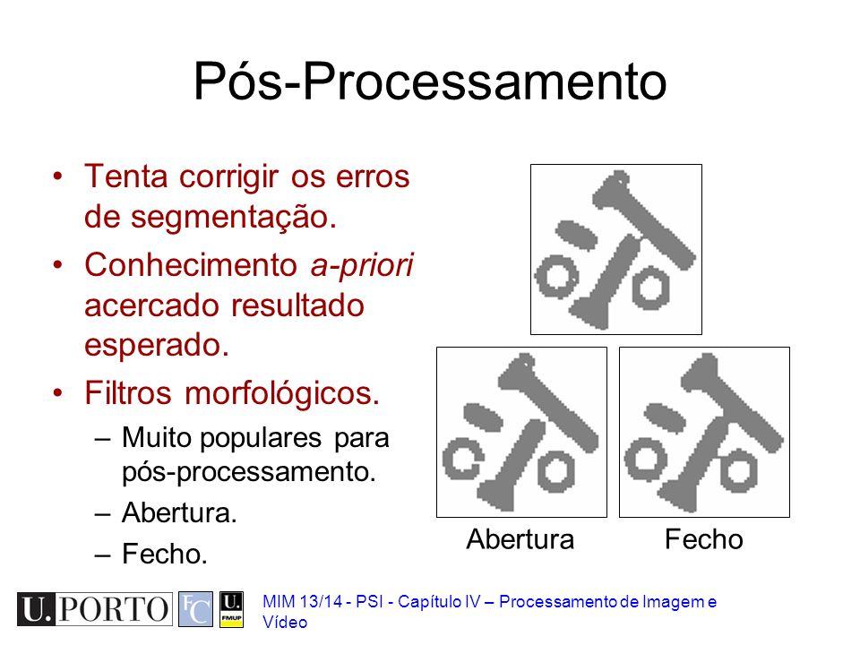MIM 13/14 - PSI - Capítulo IV – Processamento de Imagem e Vídeo Pós-Processamento Tenta corrigir os erros de segmentação. Conhecimento a-priori acerca