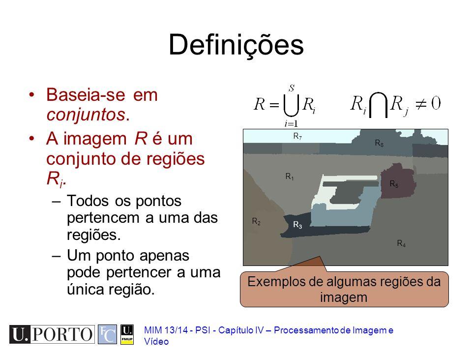MIM 13/14 - PSI - Capítulo IV – Processamento de Imagem e Vídeo Definições Baseia-se em conjuntos. A imagem R é um conjunto de regiões R i. –Todos os