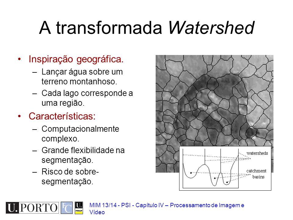 MIM 13/14 - PSI - Capítulo IV – Processamento de Imagem e Vídeo A transformada Watershed Inspiração geográfica. –Lançar água sobre um terreno montanho