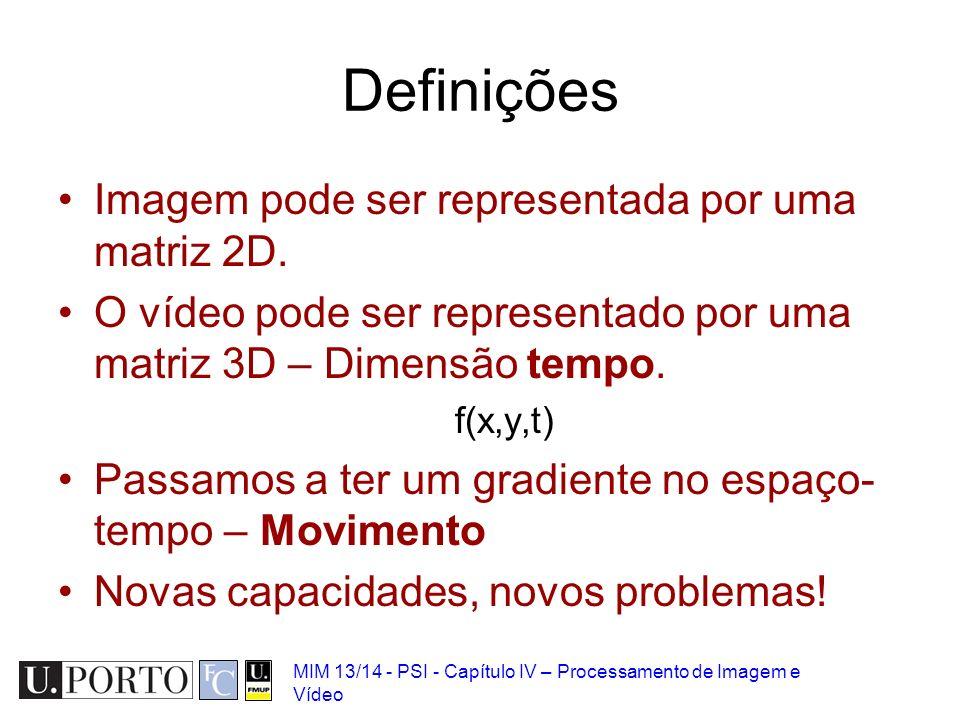 MIM 13/14 - PSI - Capítulo IV – Processamento de Imagem e Vídeo Definições Imagem pode ser representada por uma matriz 2D. O vídeo pode ser representa