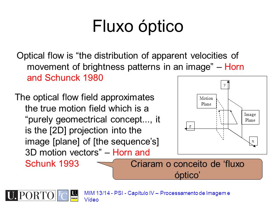 MIM 13/14 - PSI - Capítulo IV – Processamento de Imagem e Vídeo Fluxo óptico Optical flow is the distribution of apparent velocities of movement of br