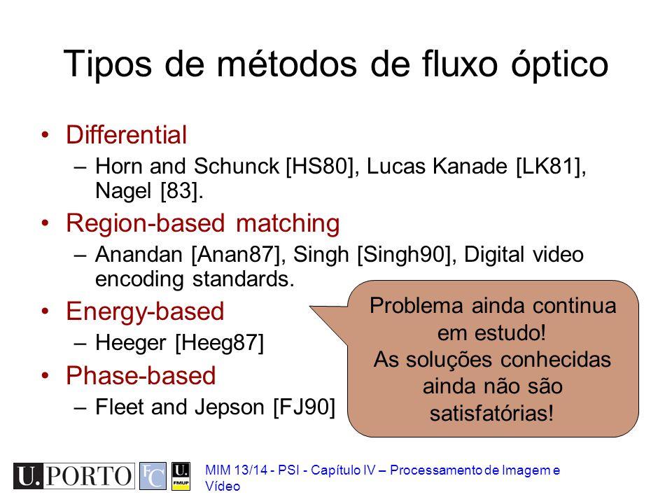 MIM 13/14 - PSI - Capítulo IV – Processamento de Imagem e Vídeo Tipos de métodos de fluxo óptico Differential –Horn and Schunck [HS80], Lucas Kanade [