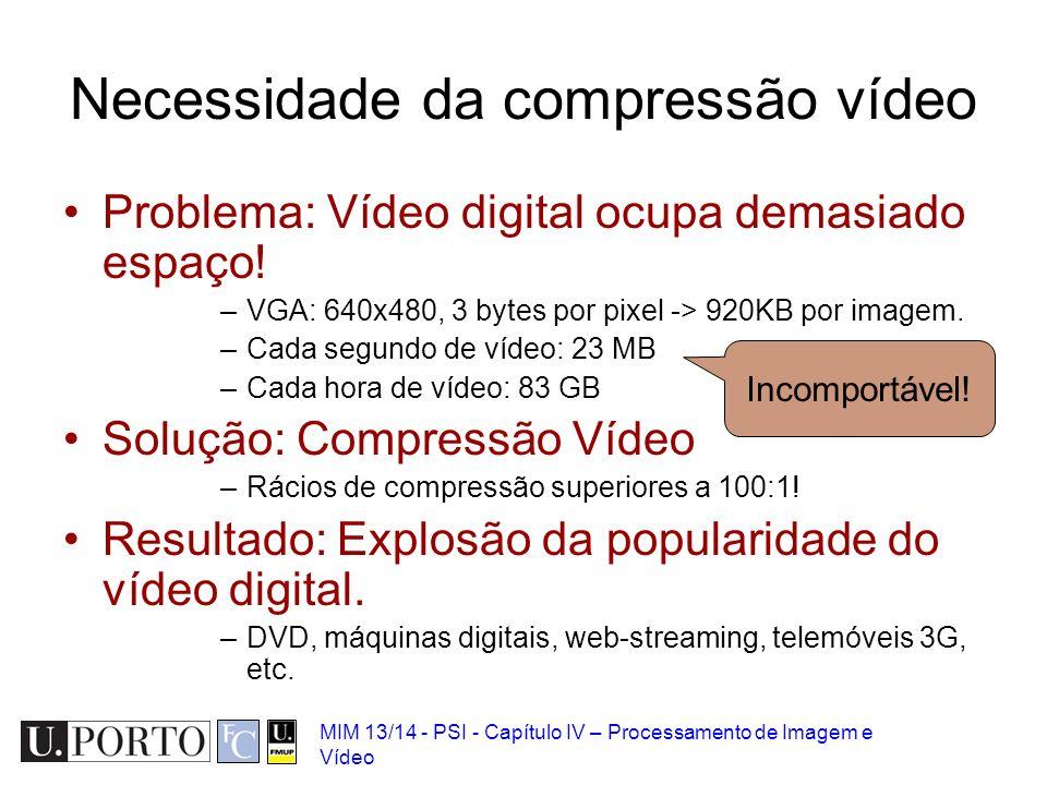 MIM 13/14 - PSI - Capítulo IV – Processamento de Imagem e Vídeo Necessidade da compressão vídeo Problema: Vídeo digital ocupa demasiado espaço! –VGA: