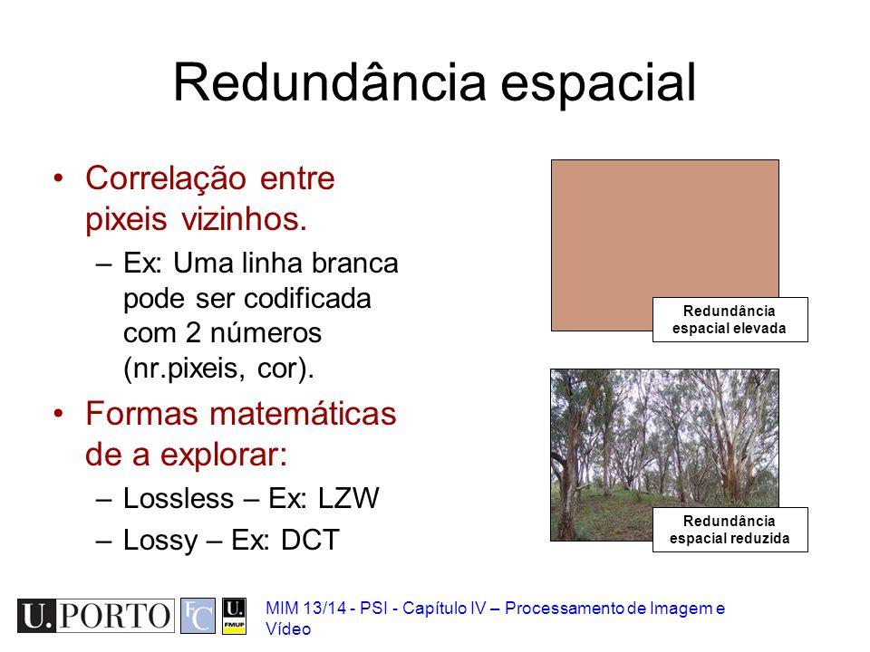 MIM 13/14 - PSI - Capítulo IV – Processamento de Imagem e Vídeo Redundância espacial Correlação entre pixeis vizinhos. –Ex: Uma linha branca pode ser