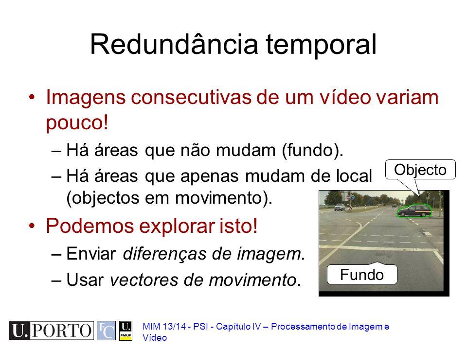 MIM 13/14 - PSI - Capítulo IV – Processamento de Imagem e Vídeo Imagens consecutivas de um vídeo variam pouco! –Há áreas que não mudam (fundo). –Há ár