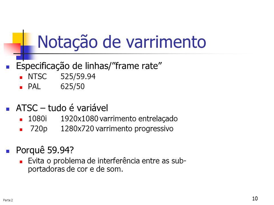 Parte 2 10 Notação de varrimento Especificação de linhas/frame rate NTSC525/59.94 PAL625/50 ATSC – tudo é variável 1080i1920x1080 varrimento entrelaça