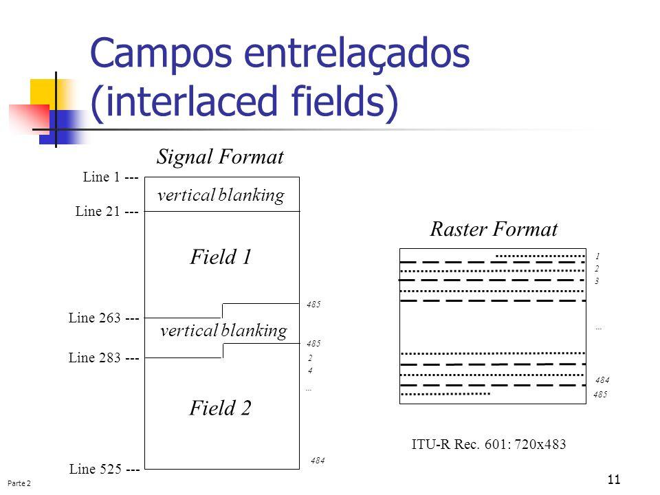 Parte 2 11 Campos entrelaçados (interlaced fields) vertical blanking Field 1 Field 2 Line 1 --- Line 21 --- Line 263 --- Line 283 --- Line 525 --- 1 4