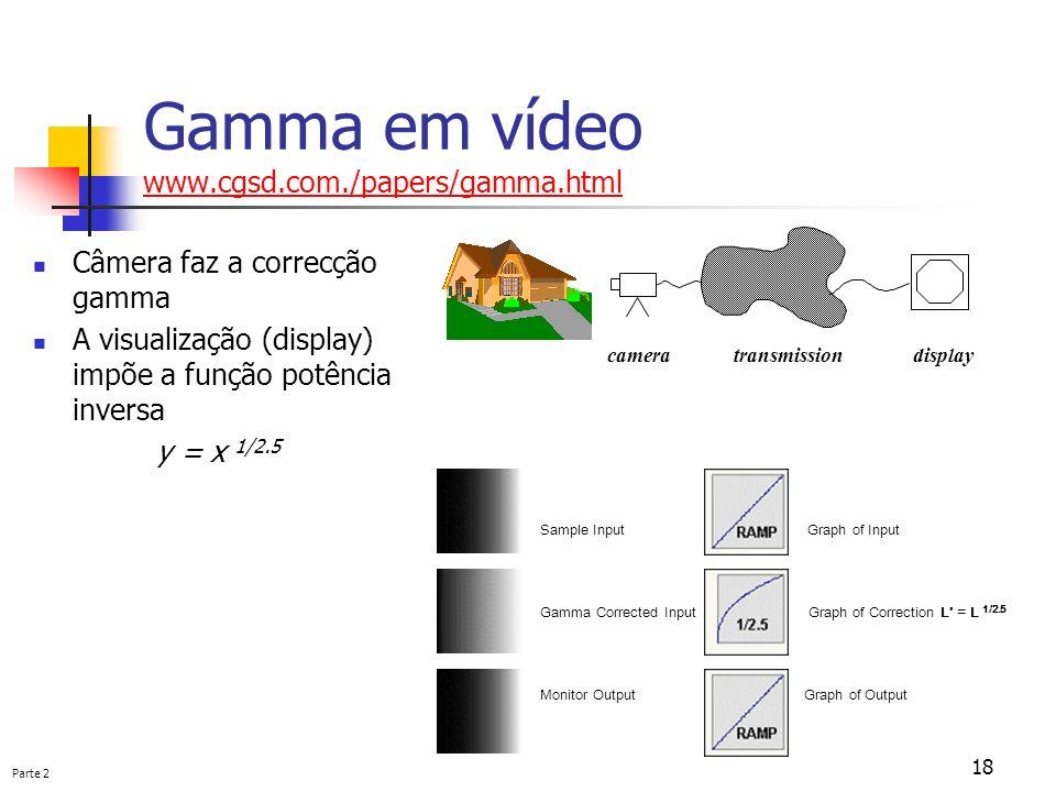 Parte 2 18 Gamma em vídeo www.cgsd.com./papers/gamma.html www.cgsd.com./papers/gamma.html Câmera faz a correcção gamma A visualização (display) impõe