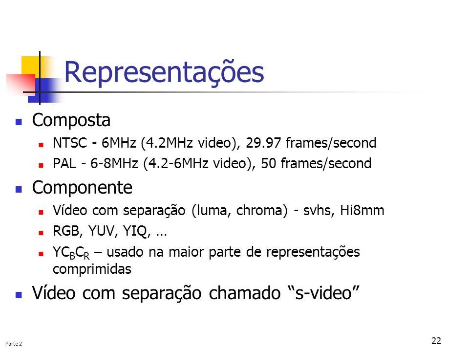 Parte 2 22 Representações Composta NTSC - 6MHz (4.2MHz video), 29.97 frames/second PAL - 6-8MHz (4.2-6MHz video), 50 frames/second Componente Vídeo co