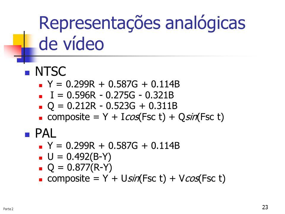 Parte 2 23 Representações analógicas de vídeo NTSC Y = 0.299R + 0.587G + 0.114B I = 0.596R - 0.275G - 0.321B Q = 0.212R - 0.523G + 0.311B composite =