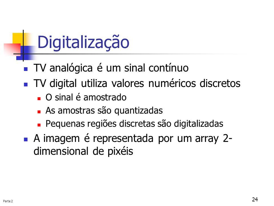 Parte 2 24 Digitalização TV analógica é um sinal contínuo TV digital utiliza valores numéricos discretos O sinal é amostrado As amostras são quantizad
