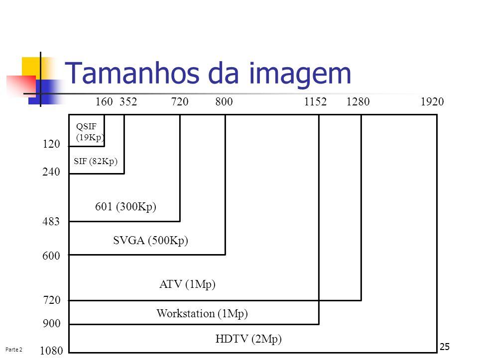 Parte 2 25 Tamanhos da imagem QSIF (19Kp) SIF (82Kp) 601 (300Kp) SVGA (500Kp) ATV (1Mp) Workstation (1Mp) HDTV (2Mp) 120 240 483 600 720 900 1080 1603