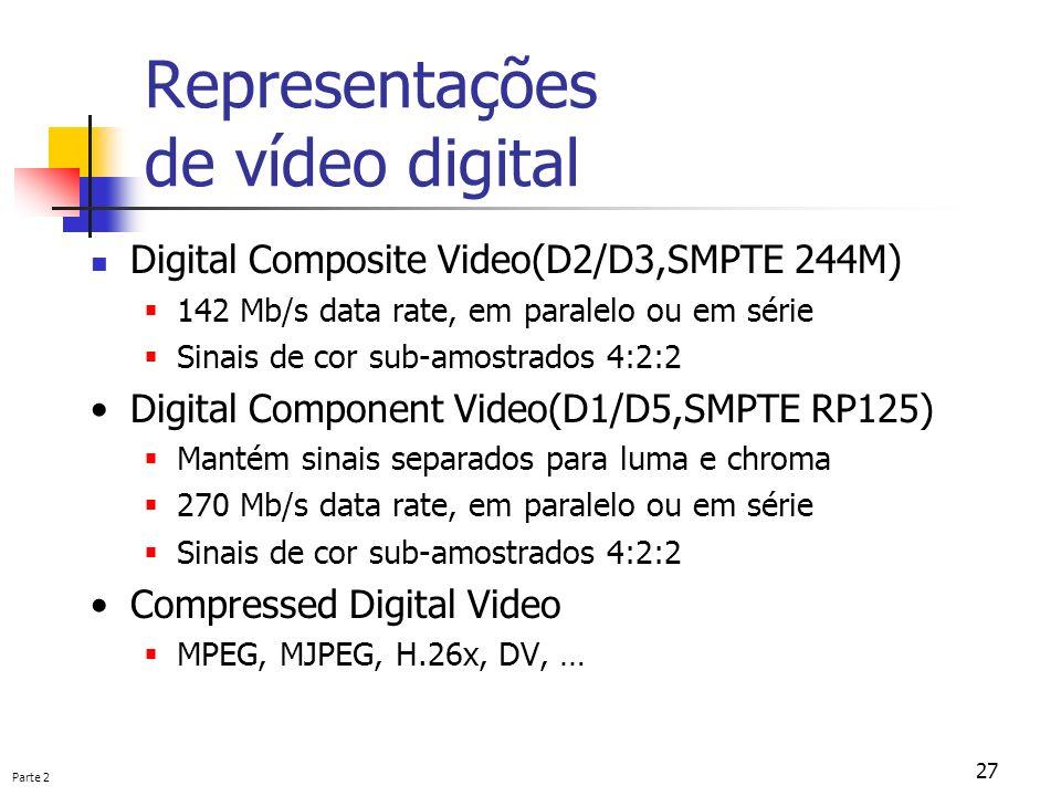 Parte 2 27 Representações de vídeo digital Digital Composite Video(D2/D3,SMPTE 244M) 142 Mb/s data rate, em paralelo ou em série Sinais de cor sub-amo