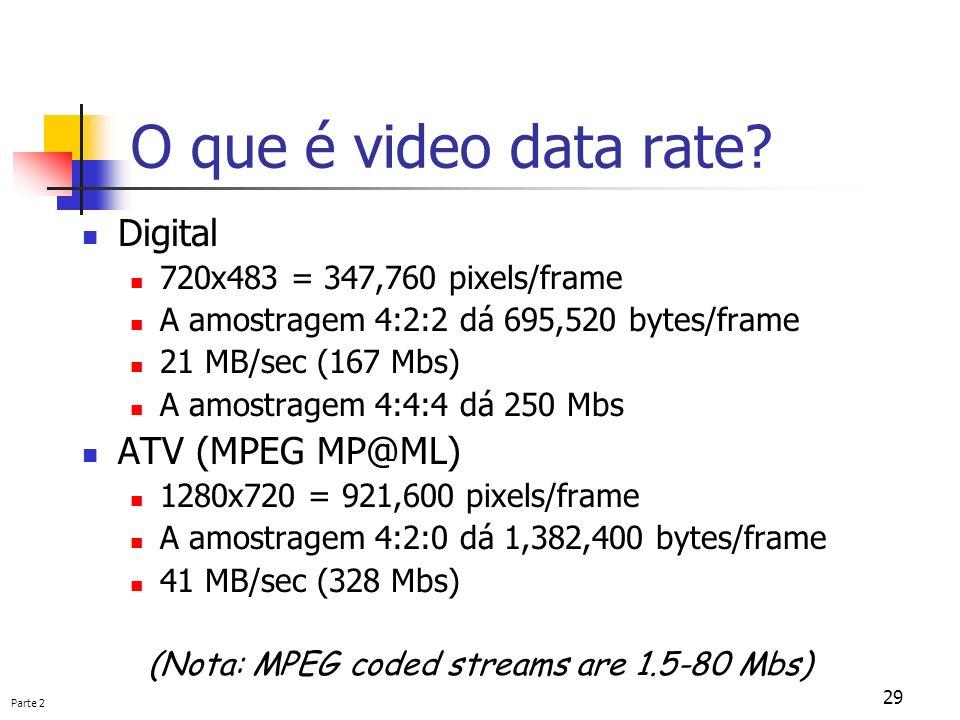 Parte 2 29 O que é video data rate? Digital 720x483 = 347,760 pixels/frame A amostragem 4:2:2 dá 695,520 bytes/frame 21 MB/sec (167 Mbs) A amostragem