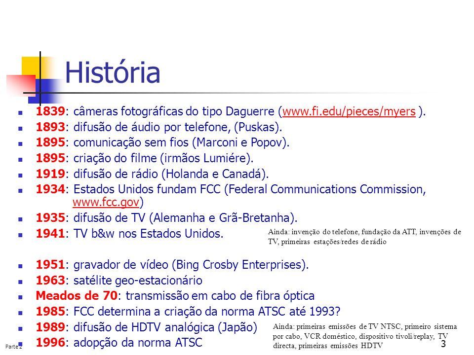 Parte 2 3 História 1839: câmeras fotográficas do tipo Daguerre (www.fi.edu/pieces/myers ).www.fi.edu/pieces/myers 1893: difusão de áudio por telefone,