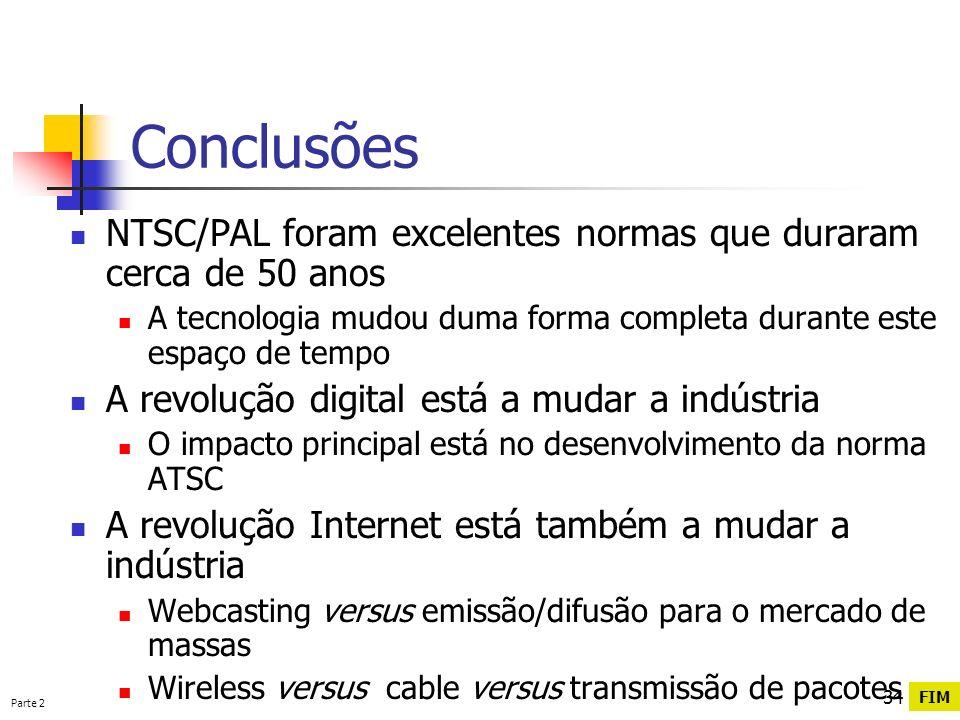 Parte 2 34 Conclusões NTSC/PAL foram excelentes normas que duraram cerca de 50 anos A tecnologia mudou duma forma completa durante este espaço de temp