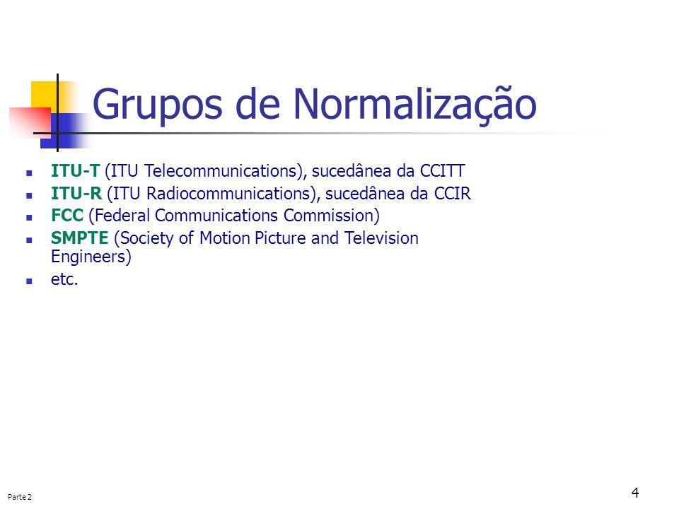 Parte 2 4 Grupos de Normalização ITU-T (ITU Telecommunications), sucedânea da CCITT ITU-R (ITU Radiocommunications), sucedânea da CCIR FCC (Federal Co