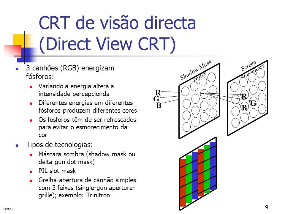 Parte 2 9 CRT de visão directa (Direct View CRT) 3 canhões (RGB) energizam fósforos: Variando a energia altera a intensidade percepcionda Diferentes e