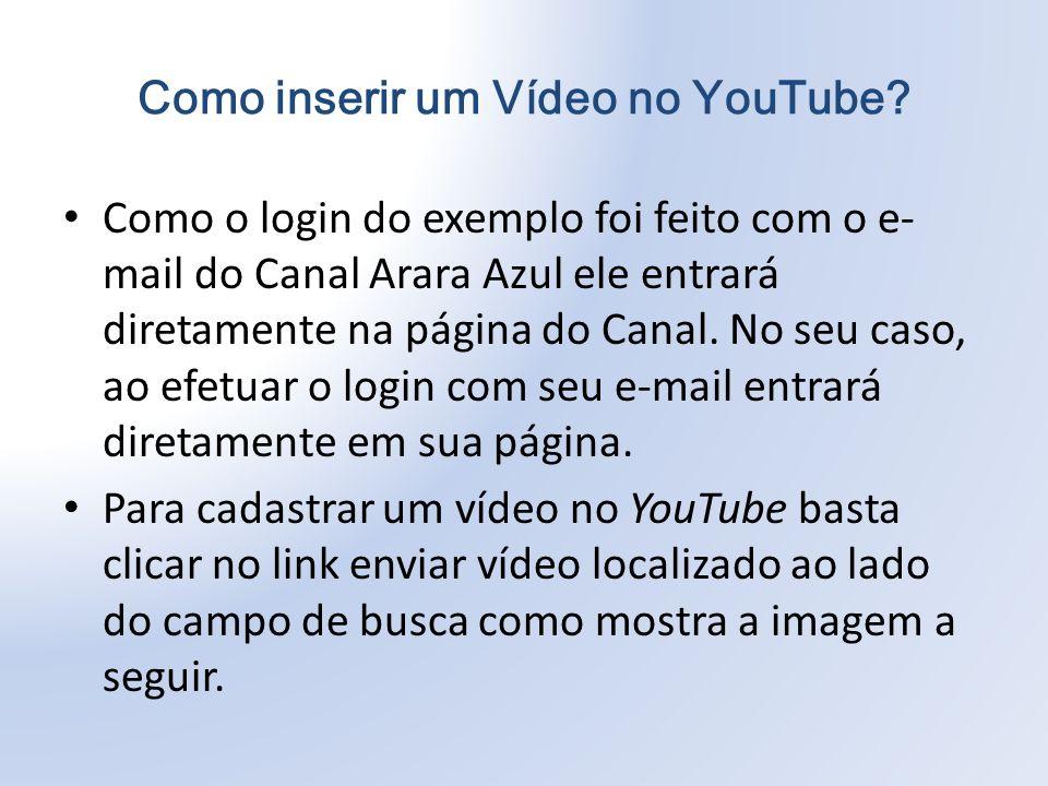 Como o login do exemplo foi feito com o e- mail do Canal Arara Azul ele entrará diretamente na página do Canal.
