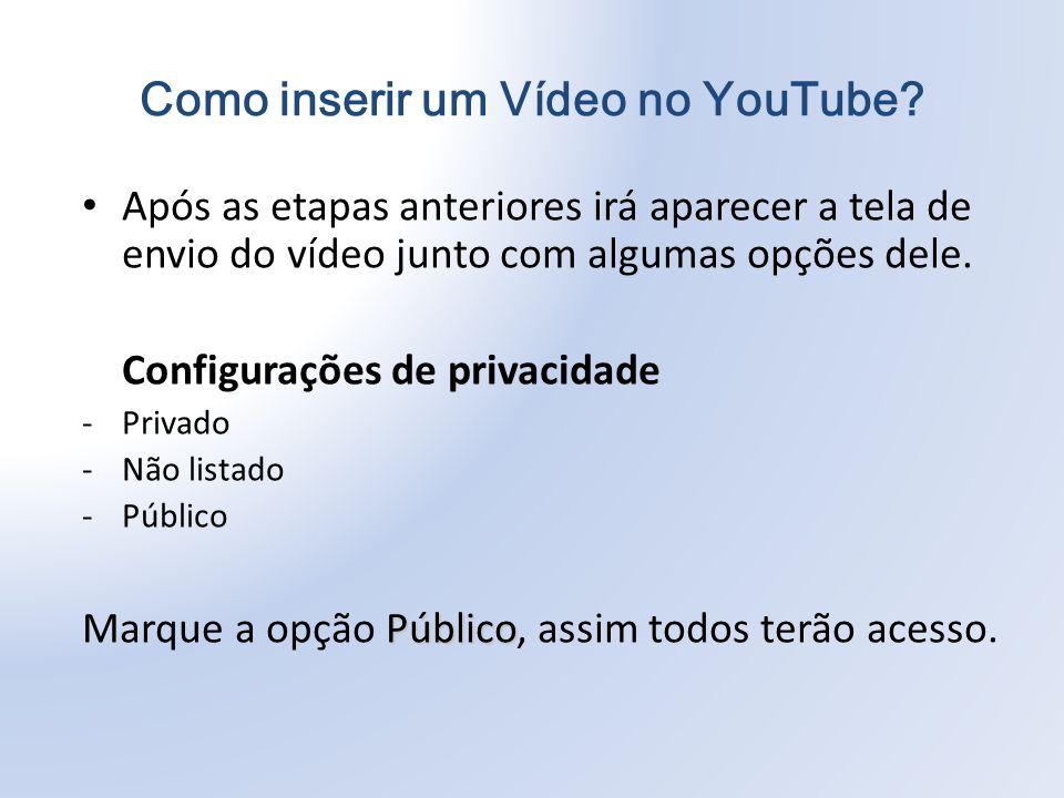 Após as etapas anteriores irá aparecer a tela de envio do vídeo junto com algumas opções dele.