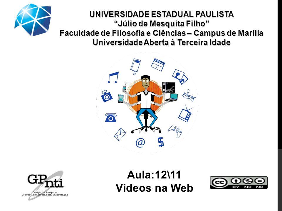 UNIVERSIDADE ESTADUAL PAULISTA Júlio de Mesquita Filho Faculdade de Filosofia e Ciências – Campus de Marília Universidade Aberta à Terceira Idade Aula:12\11 Vídeos na Web