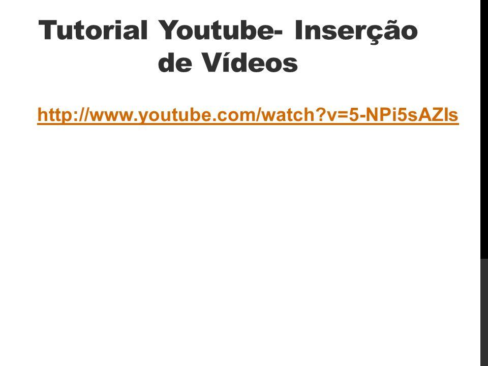 Tutorial Youtube- Inserção de Vídeos http://www.youtube.com/watch?v=5-NPi5sAZIs