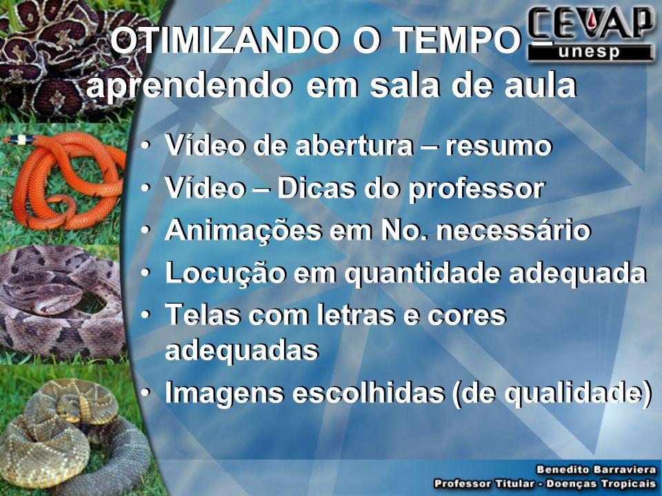 OTIMIZANDO O TEMPO – aprendendo em sala de aula Vídeo de abertura – resumo Vídeo – Dicas do professor Animações em No. necessário Locução em quantidad