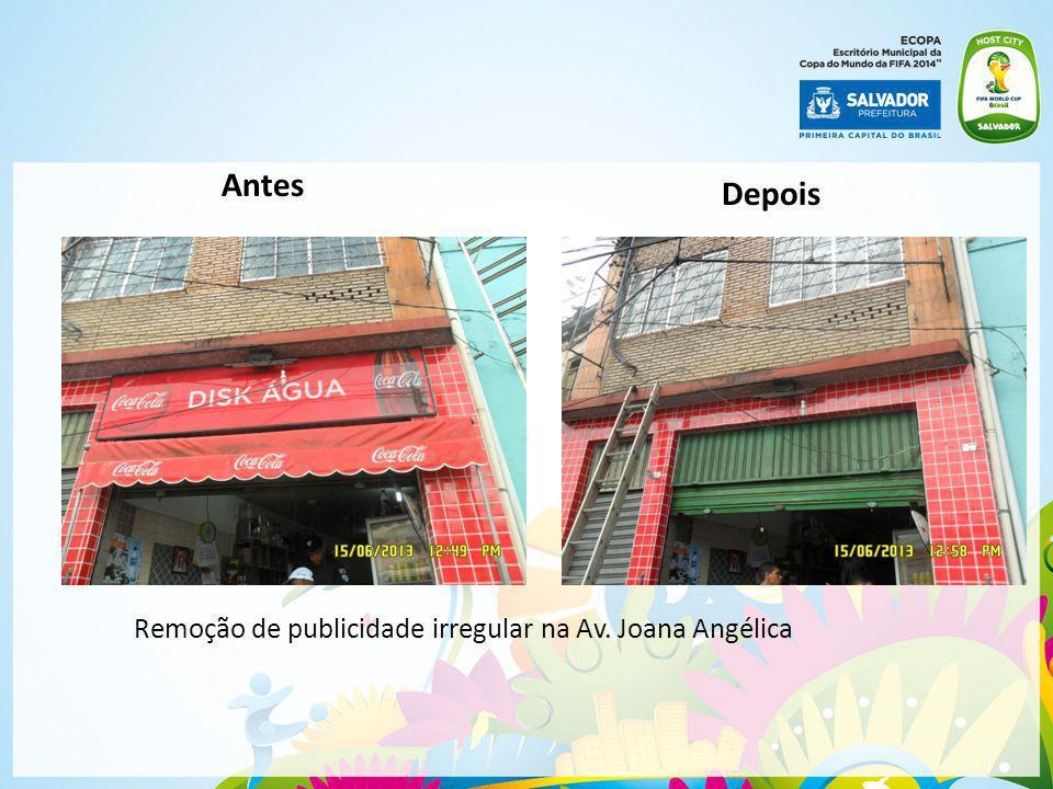 | Remoção de publicidade irregular na Av. Joana Angélica Antes Depois
