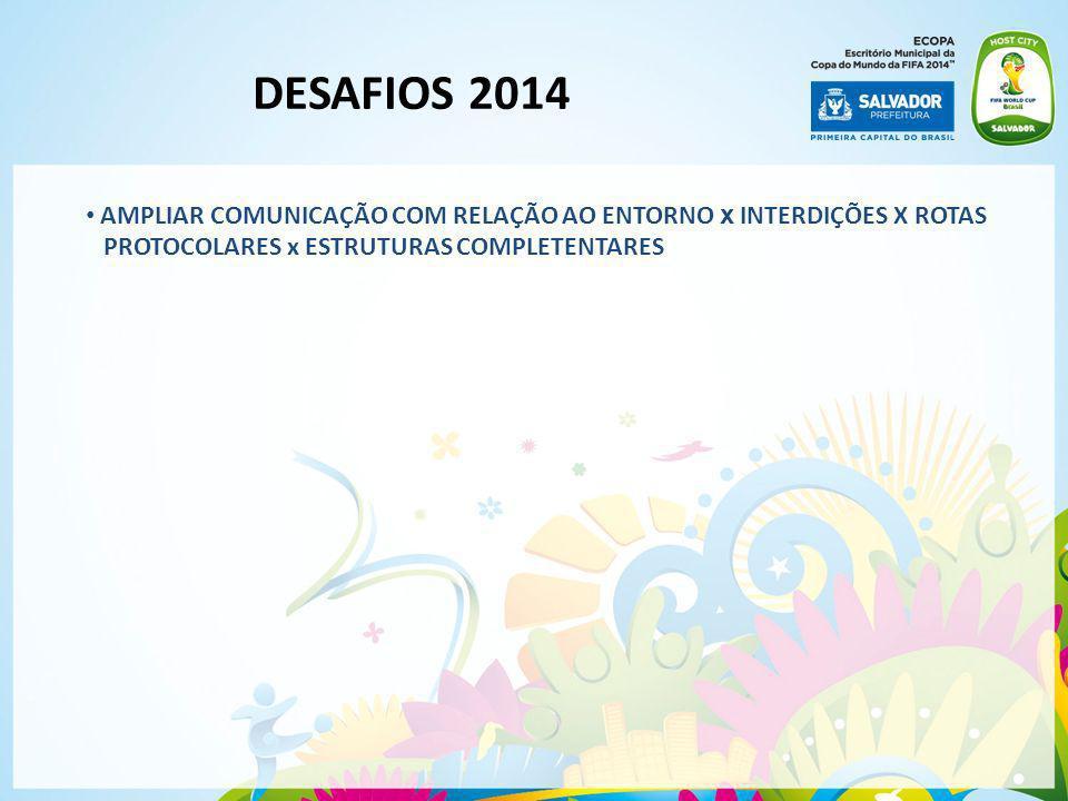 DESAFIOS 2014 AMPLIAR COMUNICAÇÃO COM RELAÇÃO AO ENTORNO x INTERDIÇÕES X ROTAS PROTOCOLARES x ESTRUTURAS COMPLETENTARES