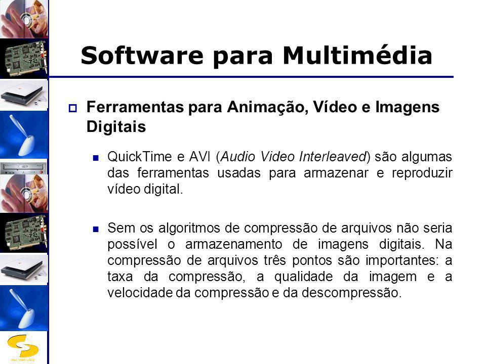 DSC/CEEI/UFCG Software para Multimédia Ferramentas para Animação, Vídeo e Imagens Digitais QuickTime e AVI (Audio Video Interleaved) são algumas das f