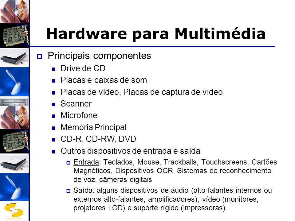 DSC/CEEI/UFCG Software para Multimédia Basicamente existe software de autoria e bibliotecas multimédia, suportados por sistemas operativos mais ou menos adaptados às necessidades das aplicações.