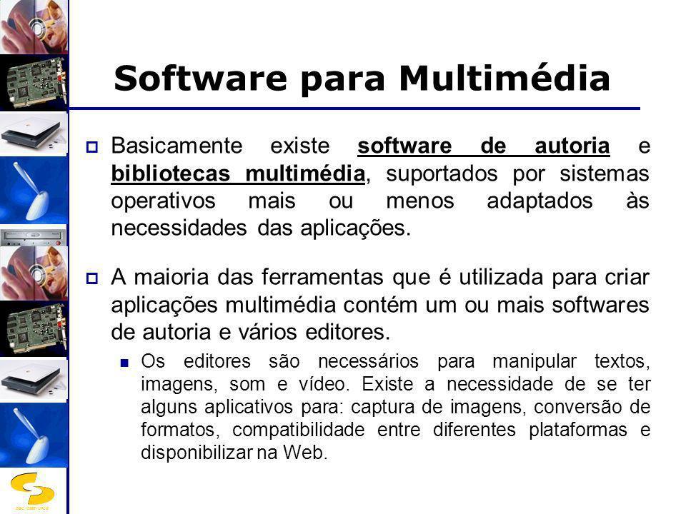 DSC/CEEI/UFCG Software para Multimédia Basicamente existe software de autoria e bibliotecas multimédia, suportados por sistemas operativos mais ou men