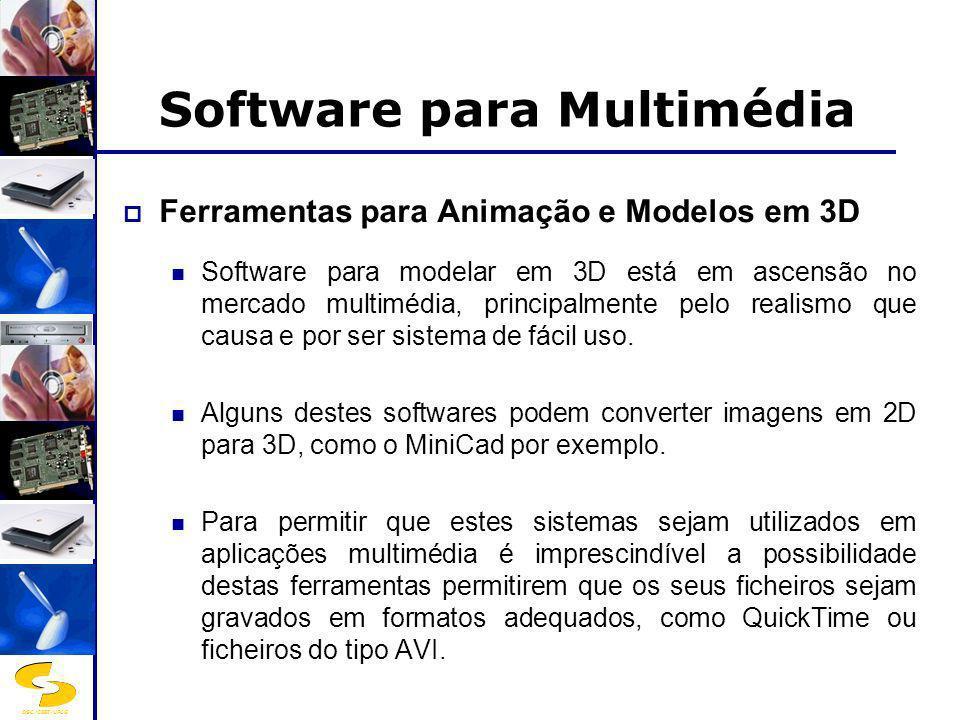 DSC/CEEI/UFCG Software para Multimédia Ferramentas para Animação e Modelos em 3D Software para modelar em 3D está em ascensão no mercado multimédia, p