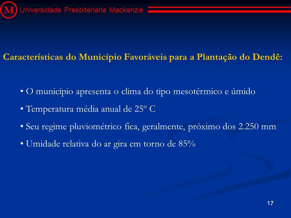 17 M Universidade Presbiteriana Mackenzie O município apresenta o clima do tipo mesotérmico e úmido Temperatura média anual de 25º C Seu regime pluvio