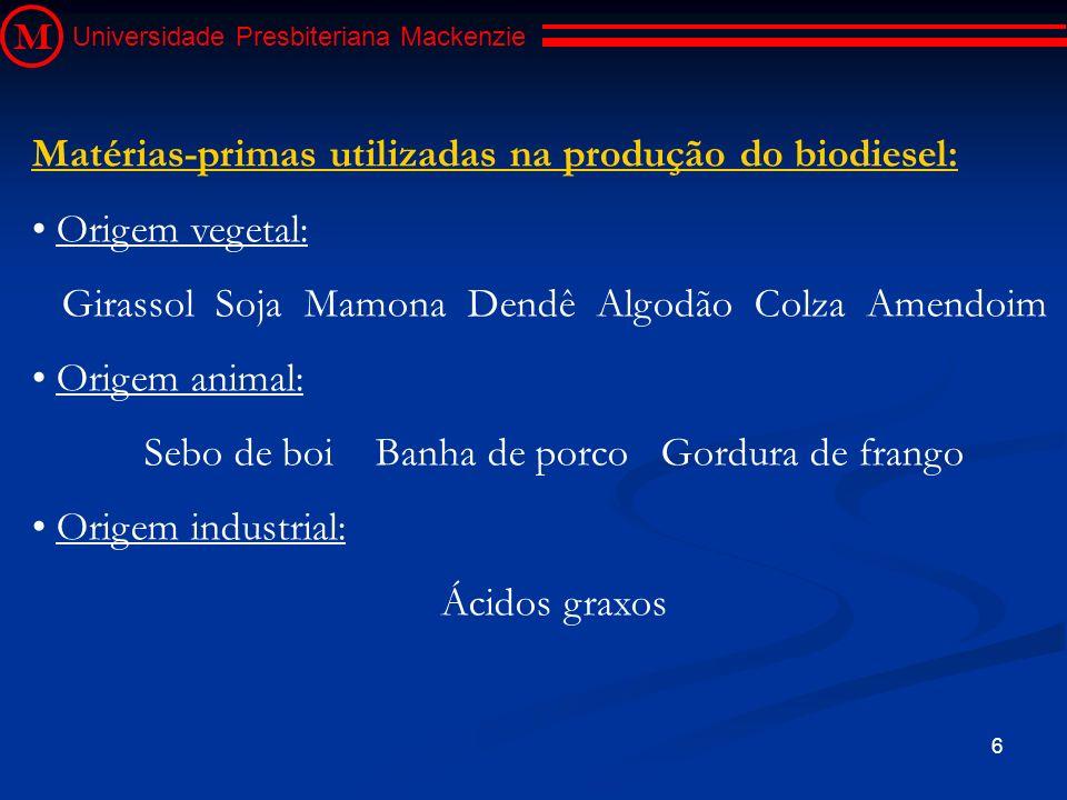 6 M Universidade Presbiteriana Mackenzie Matérias-primas utilizadas na produção do biodiesel: Origem vegetal: Girassol Soja Mamona Dendê Algodão Colza