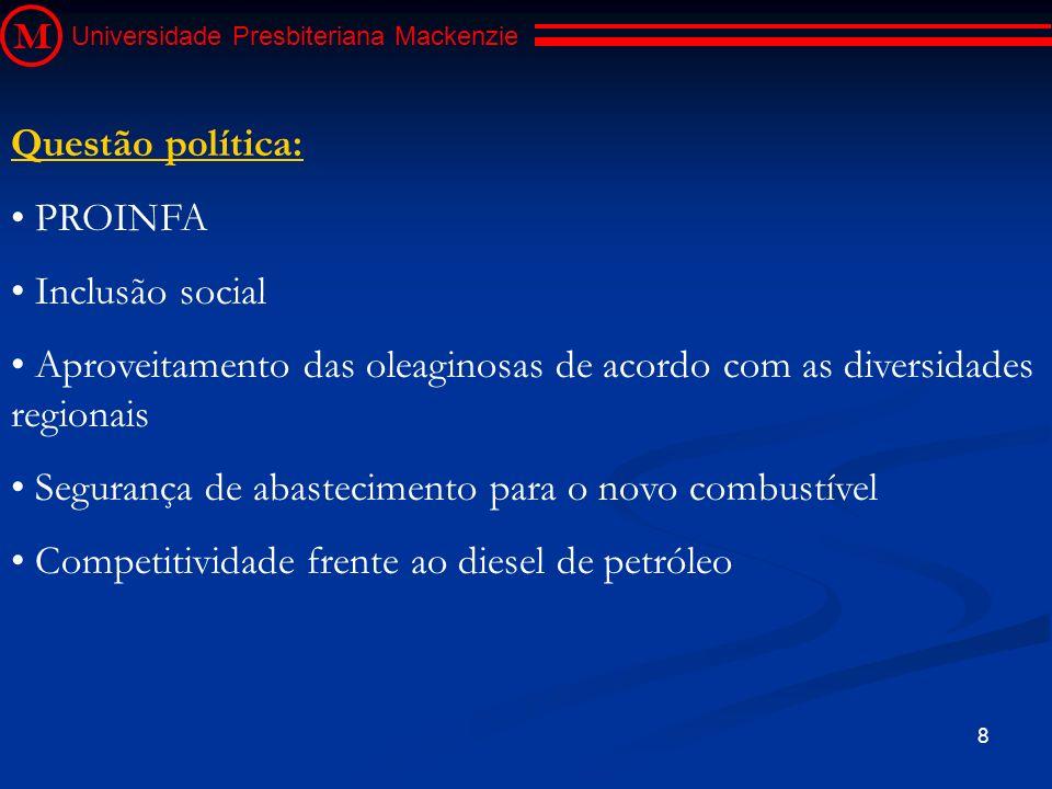 9 M Universidade Presbiteriana Mackenzie Questão social: Diversidade de matérias-primas com diferentes potencialidades regionais (Comunidades isoladas) Selo Combustível Social