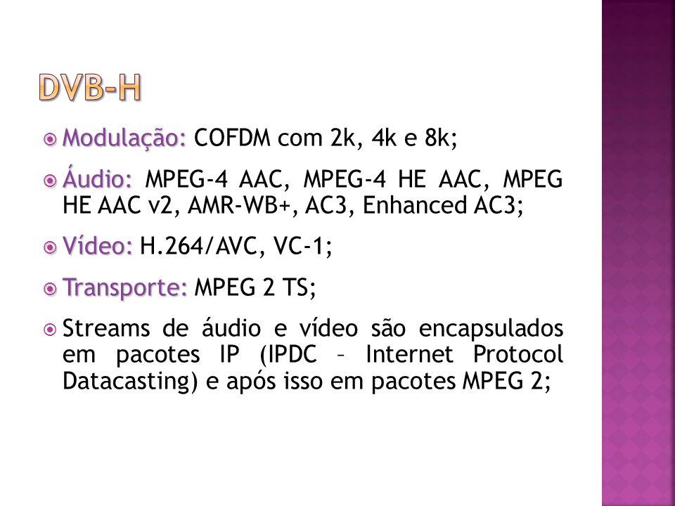 Modulação: Modulação: COFDM com 2k, 4k e 8k; Áudio: Áudio: MPEG-4 AAC, MPEG-4 HE AAC, MPEG HE AAC v2, AMR-WB+, AC3, Enhanced AC3; Vídeo: Vídeo: H.264/AVC, VC-1; Transporte: Transporte: MPEG 2 TS; Streams de áudio e vídeo são encapsulados em pacotes IP (IPDC – Internet Protocol Datacasting) e após isso em pacotes MPEG 2;