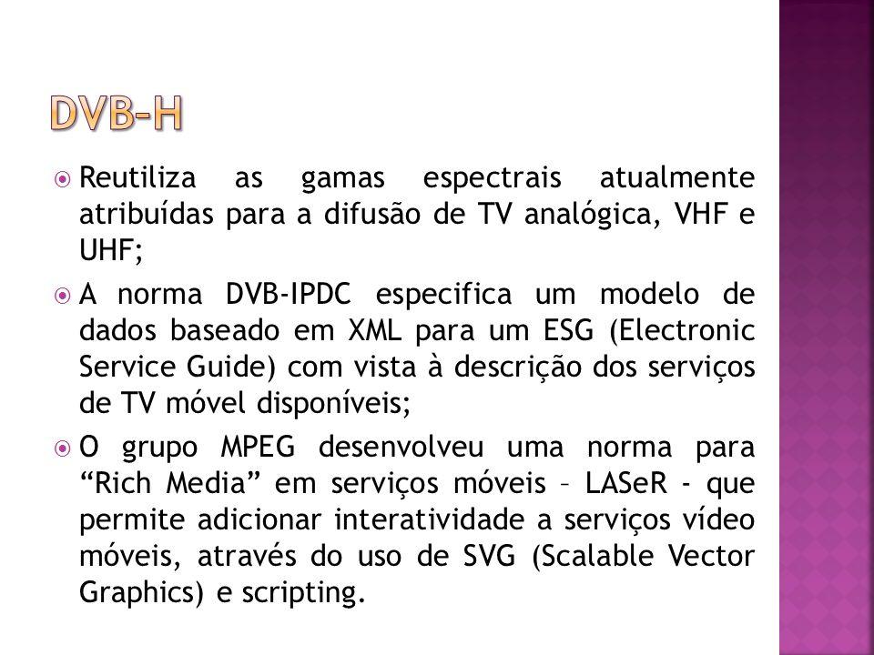 Reutiliza as gamas espectrais atualmente atribuídas para a difusão de TV analógica, VHF e UHF; A norma DVB-IPDC especifica um modelo de dados baseado em XML para um ESG (Electronic Service Guide) com vista à descrição dos serviços de TV móvel disponíveis; O grupo MPEG desenvolveu uma norma para Rich Media em serviços móveis – LASeR - que permite adicionar interatividade a serviços vídeo móveis, através do uso de SVG (Scalable Vector Graphics) e scripting.
