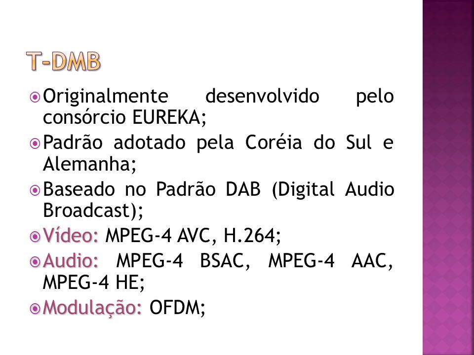 Originalmente desenvolvido pelo consórcio EUREKA; Padrão adotado pela Coréia do Sul e Alemanha; Baseado no Padrão DAB (Digital Audio Broadcast); Vídeo: Vídeo: MPEG-4 AVC, H.264; Audio: Audio: MPEG-4 BSAC, MPEG-4 AAC, MPEG-4 HE; Modulação: Modulação: OFDM;