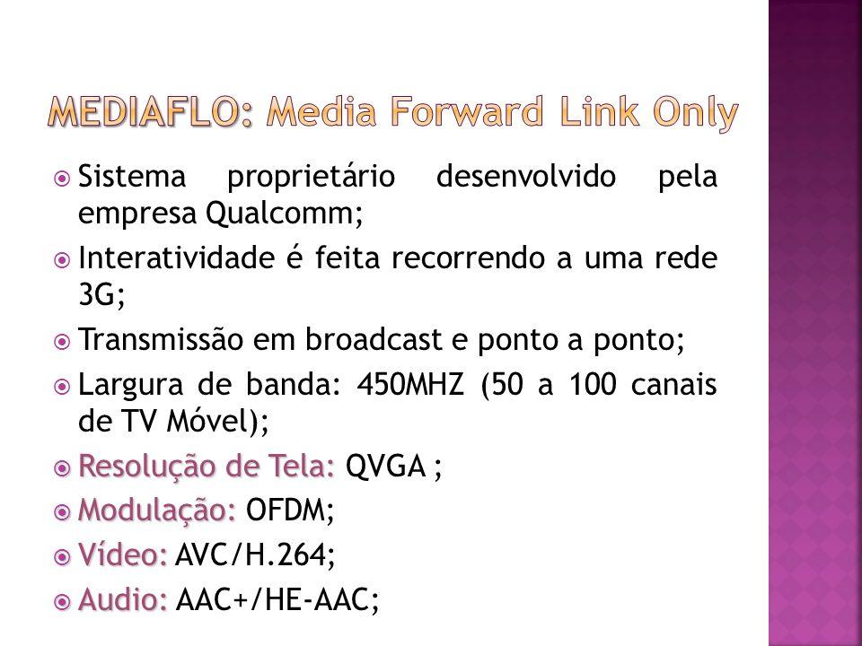 Sistema proprietário desenvolvido pela empresa Qualcomm; Interatividade é feita recorrendo a uma rede 3G; Transmissão em broadcast e ponto a ponto; Largura de banda: 450MHZ (50 a 100 canais de TV Móvel); Resolução de Tela: Resolução de Tela: QVGA ; Modulação: Modulação: OFDM; Vídeo: Vídeo: AVC/H.264; Audio: Audio: AAC+/HE-AAC;