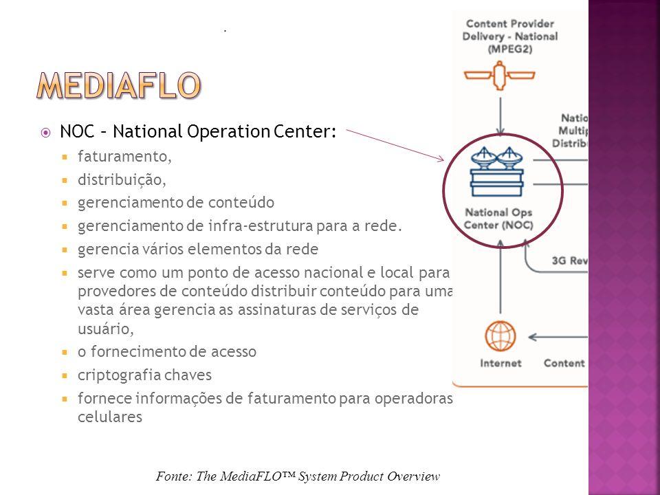NOC – National Operation Center: faturamento, distribuição, gerenciamento de conteúdo gerenciamento de infra-estrutura para a rede.