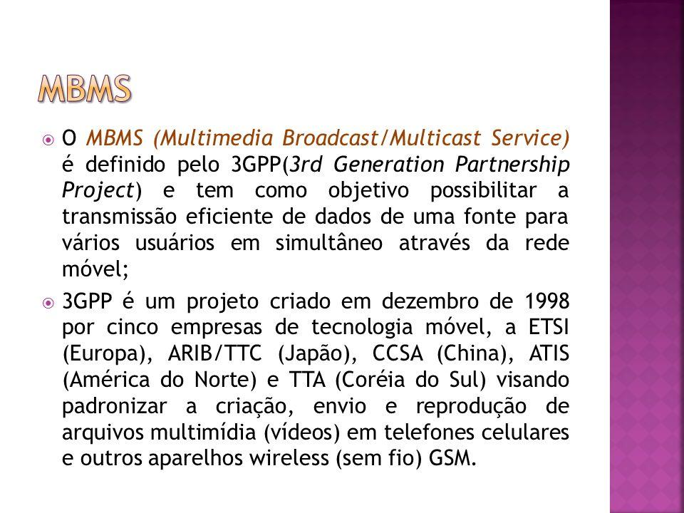 O MBMS (Multimedia Broadcast/Multicast Service) é definido pelo 3GPP(3rd Generation Partnership Project) e tem como objetivo possibilitar a transmissão eficiente de dados de uma fonte para vários usuários em simultâneo através da rede móvel; 3GPP é um projeto criado em dezembro de 1998 por cinco empresas de tecnologia móvel, a ETSI (Europa), ARIB/TTC (Japão), CCSA (China), ATIS (América do Norte) e TTA (Coréia do Sul) visando padronizar a criação, envio e reprodução de arquivos multimídia (vídeos) em telefones celulares e outros aparelhos wireless (sem fio) GSM.