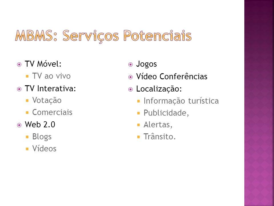 TV Móvel: TV ao vivo TV Interativa: Votação Comerciais Web 2.0 Blogs Vídeos Jogos Vídeo Conferências Localização: Informação turística Publicidade, Alertas, Trânsito.