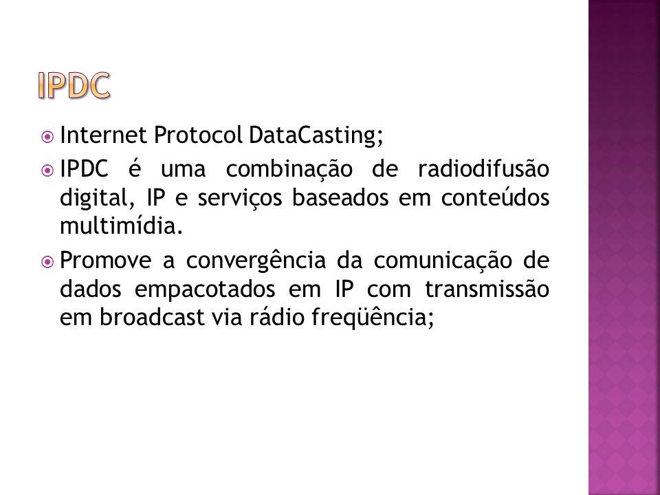 Internet Protocol DataCasting; IPDC é uma combinação de radiodifusão digital, IP e serviços baseados em conteúdos multimídia.
